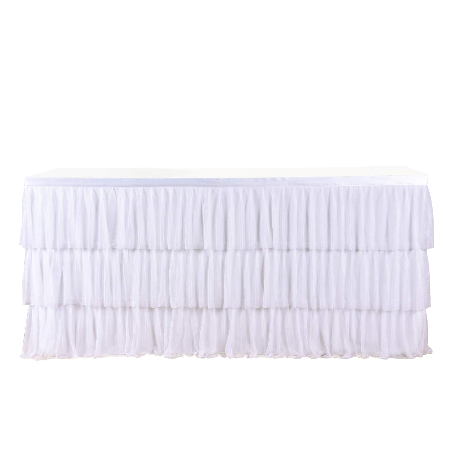 6ft Tulle White Table Skirt For Round Or Rectangle Table With 3 Layer Dust Ruffle Skirting For Party, Meeting, Birthday, Wedding Decoration And Home Decor(L72InchH30Inch)