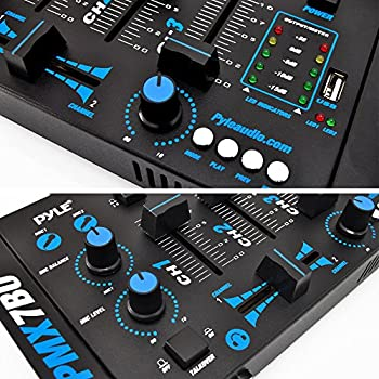 Pyle Pmx7bu Bluetooth 3-channel Dj Mp3 Mixer, Mic-talkover, Usb Flash Reader, Dual Rca & Microphone Inputs, Headphone Jack 4