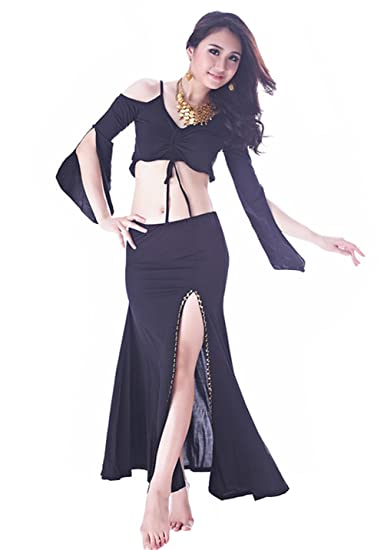 5bbceb1b00c4 Lucky staryuan Women Butterfly Belly Dance Costumes Dance Outfit (Black)