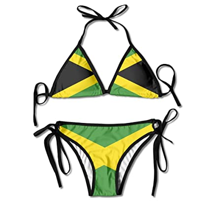 9050a217eb394 Image Unavailable. Image not available for. Color: Jamaica Flag Women's  Sexy Bikini Set Swimsuit ...