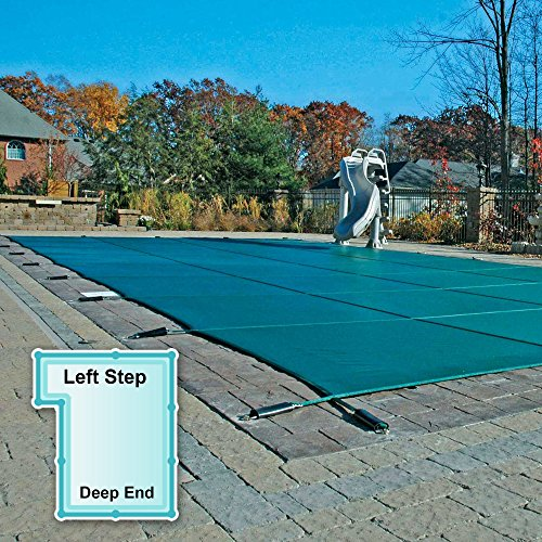 GLI 16' x 32' Rectangle Mesh Safety Pool Cover with 4' x 8' - Left Step
