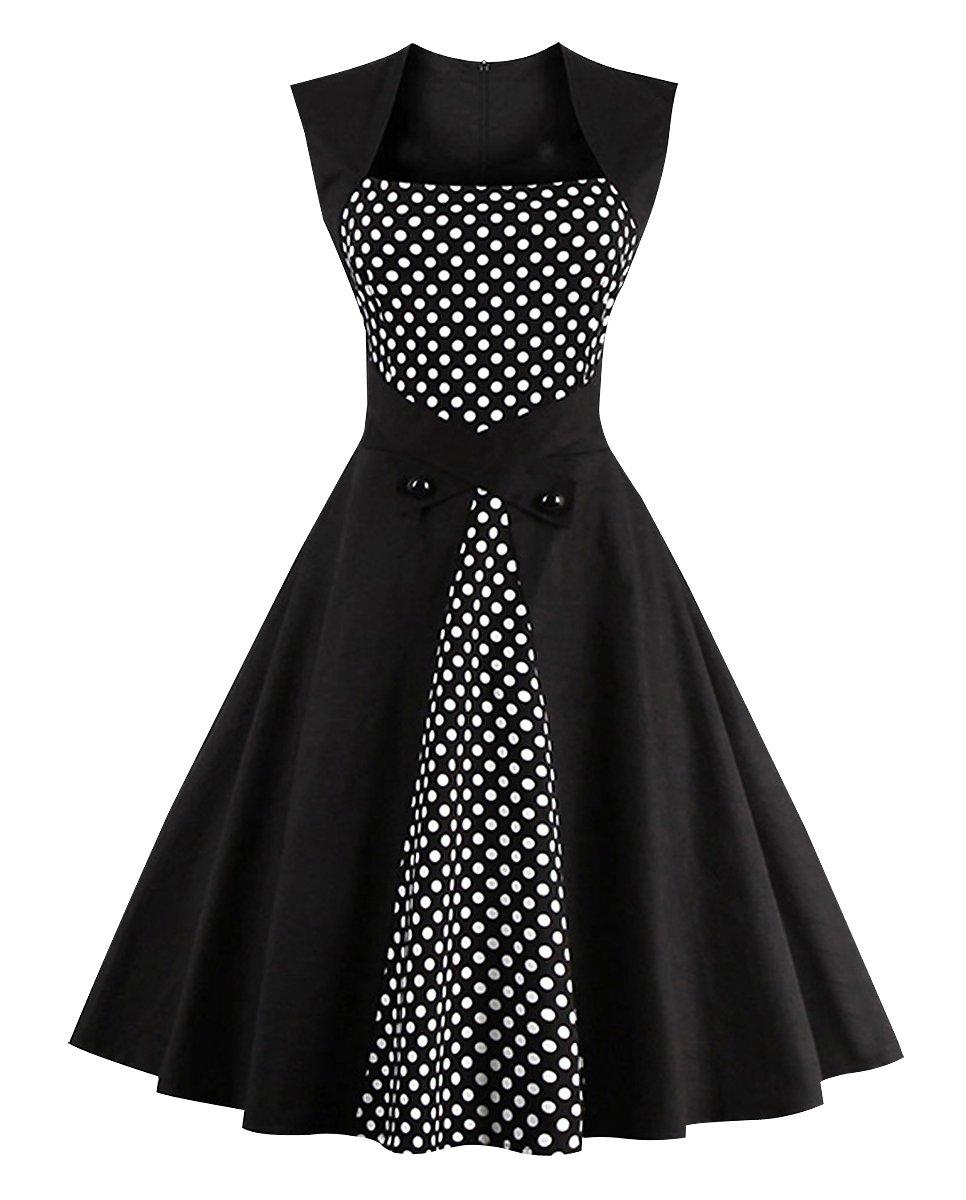 Killreal Women's Vintage Style Sleeveless Polka Dot Casual Cocktail Party Dress Black/White Large