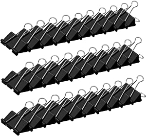 Black Large Binder Clips,1.6 inch,41mm (30-Pack).Binder Clips Paper Clamps for Office/School Supplies.Comes in Sturdy Eathtek Package.