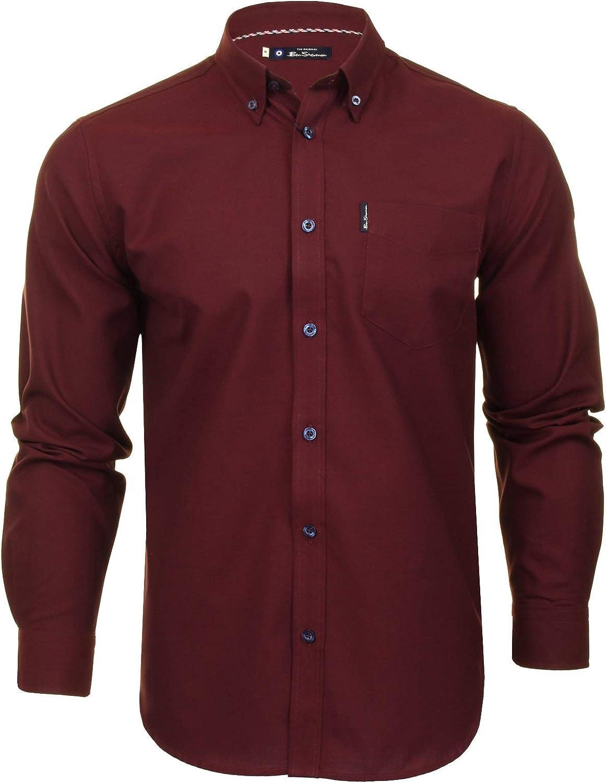 Mens Oxford Shirt by Ben Sherman Long Sleeved Bordeaux