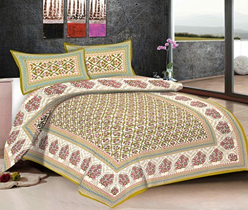 Viskar Fab Tex Rajasthani Hand Block Printed Jaipuri Cotton Double Bedsheet with 2 pillow covers Efflorescence Pistachio Green