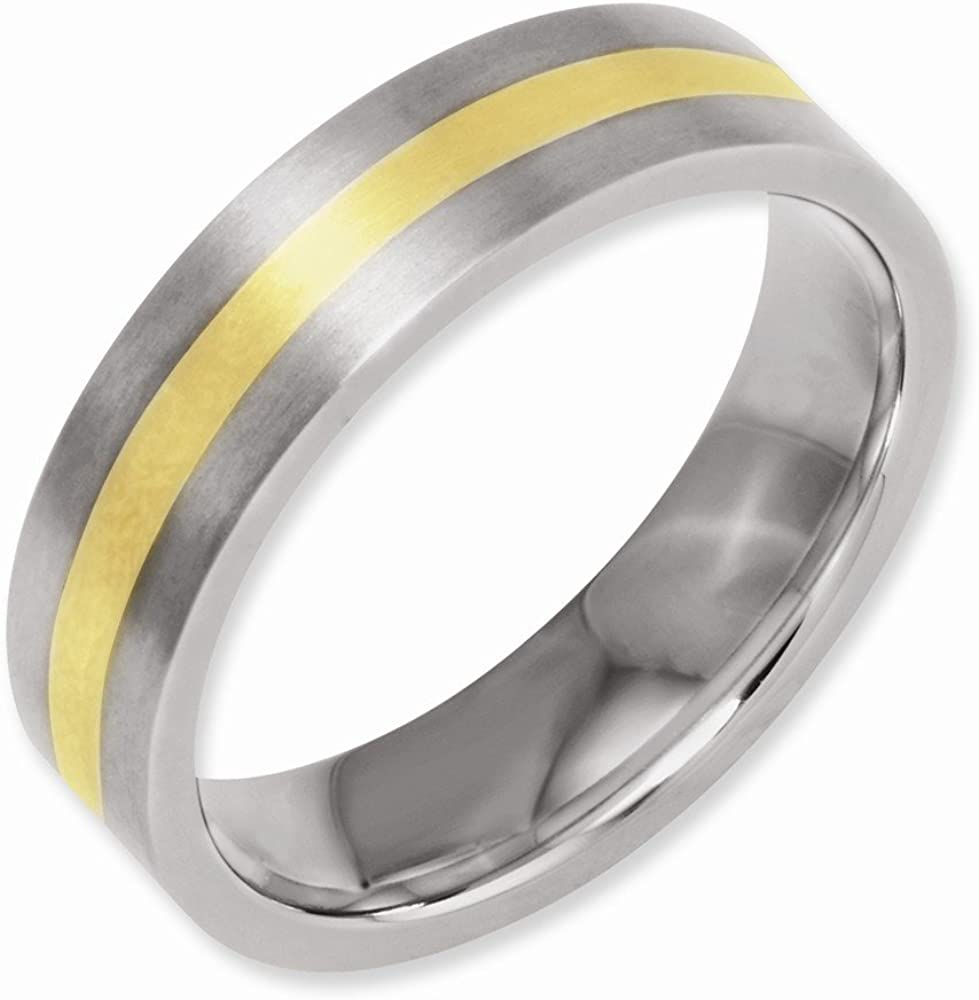 Best Quality Free Gift Box Titanium Flat 14k Gold Inlay 6mm Brushed Band