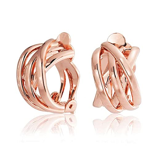 Bling Jewelry Rose Gold Plated Criss Cross Half Hoop Clip On Earrings AM62onG