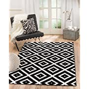 SUMMIT BY WHITE MOUNTAIN Summit NP-0VZE-P4EC 046 Black White Diamond Area Rug Modern Abstract Many Sizes Available, 4'.10  x 7'.2