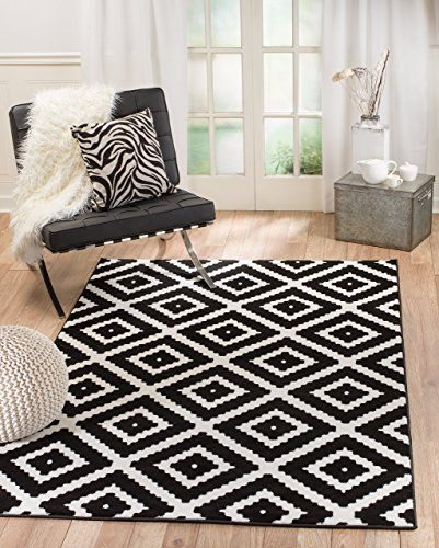 Summit RB-FPBH-C7YL 46 Black White Diamond Area Rug Modern Abstract Many Sizes Available , 7'.4