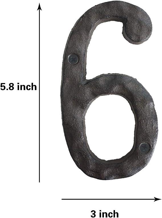 massiv und robust Hausnummern aus Gusseisen rustikale Adress-Nummer einfache Installation mit passenden Schrauben 15,2 cm