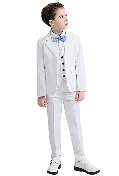 Amazon.com: SHENLINQIJ White 3 Pieces Boys Tuxedo Suit Slim ...