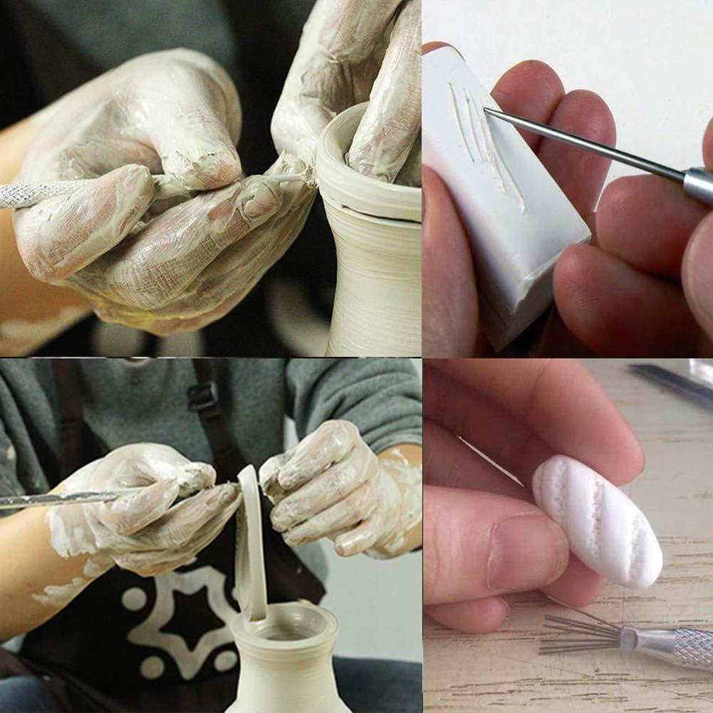 Herramientas de Detalle de Aguja Profesional 4 Unidades Escultura de cer/ámica de Arcilla con Textura de Alambre de Plumas She-Lin