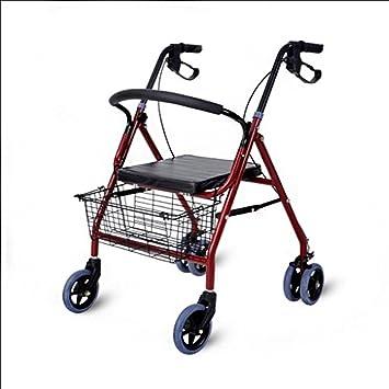 SI YU Anciano Walker Rollato Carrito de compras Trolley de tubos de acero Casual Walker Cuatro vueltas Scooter auxiliar plegable: Amazon.es: Hogar