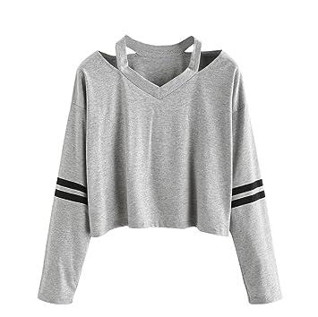 Las mujeres Sudaderas con capucha, Feixiang ♈ exclusivo personalización moda mujer manga larga sudadera V cuello Tops blusa causal medium gris: Amazon.es: ...