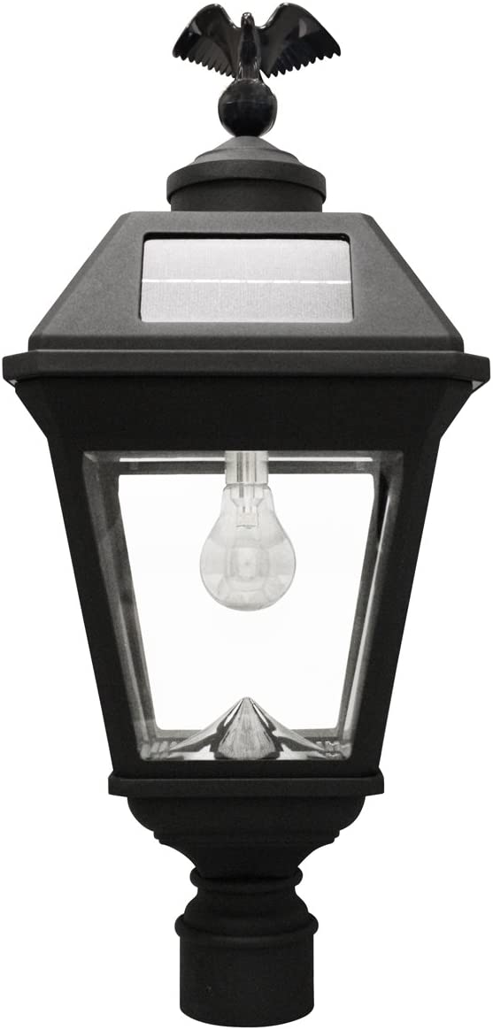 Gama Sonic GS-97B-F Imperial Bulb Light Outdoor Solar Lamp, 3 Post Fitter Mount, Warm White LED, Black