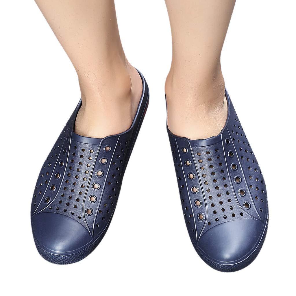 Creazrise Couple Summer Hole Flats Breathable Antiskid Light Slippers Beach Soft Bottom Shoes Dark Blue