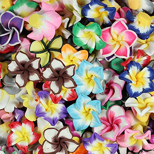RUBYCA Mix Polymer Fimo Clay 5-leaves Flower Spacer Loose Beads 15mm for DIY Jewelry Making 100pcs (Beads Yellow Round Flowers)