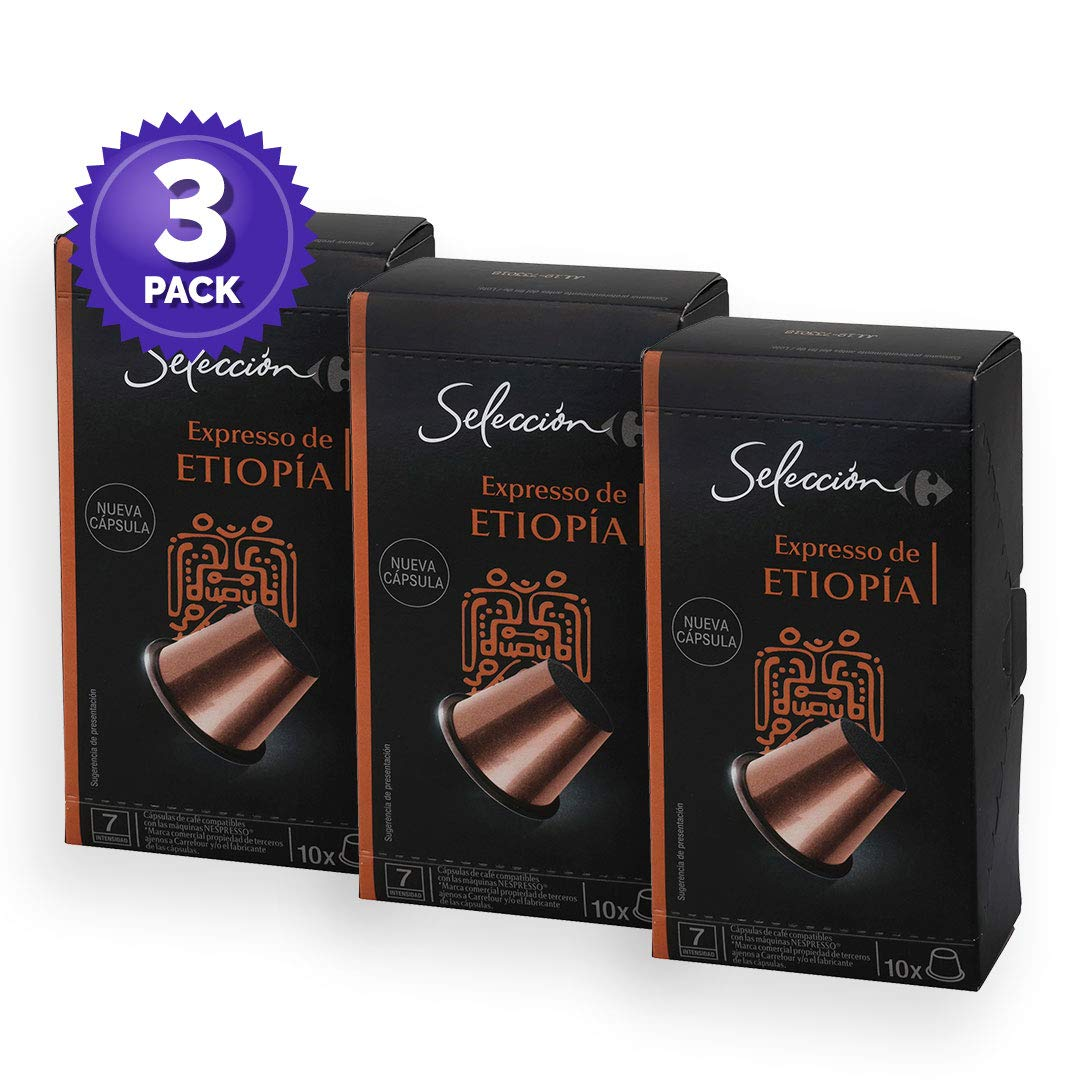3 Pack Carrefour Coffee Pods - Etiopia Espresso Flavor - Capsules Compatible with Nespresso Machine - Made in Spain - 10 Single Serve Capsules (30 Capsules ...