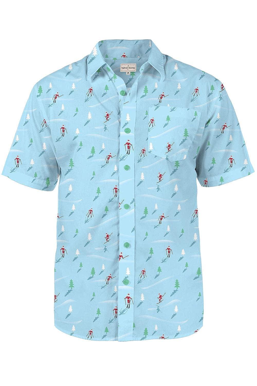 Christmas Hawaiian Shirts.Tipsy Elves Men S Christmas Hawaiian Shirt Warm Weather Xmas Hawaiian Shirt With Santa Claus
