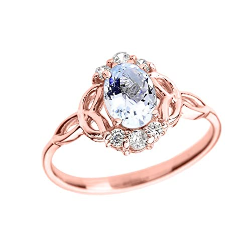 Aquamarine and Diamond 10k Rose Gold Trinity Knot Proposal Ring