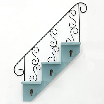 Rustic Wrought U0026 Wooden Key Holder Decorative Key Hooks Rack With 3 Hooks  And Shelves Stairs