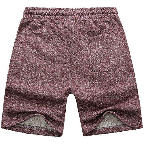 Manwan walk Men's Casual Classic Fit Cotton Elastic Jogger Gym Drawstring Knit Shorts (Medium, Red) by Manwan walk (Image #1)