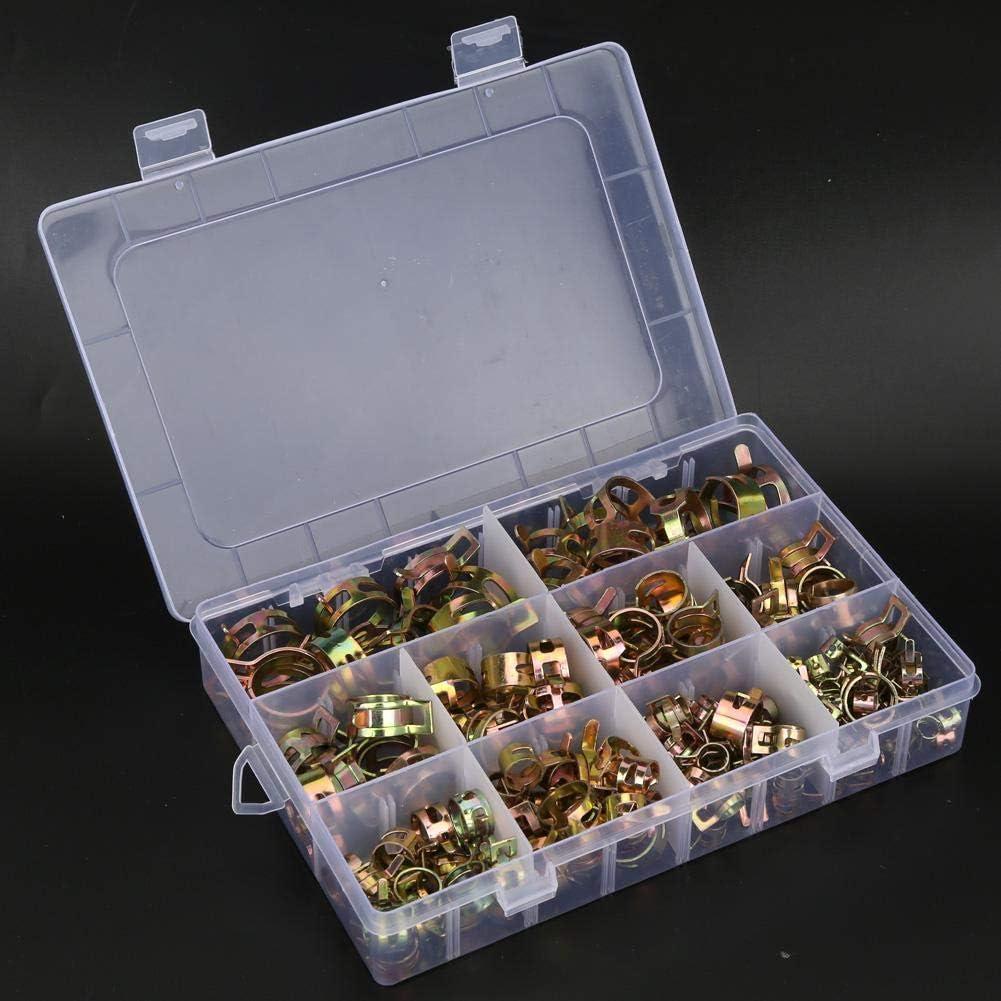 kit dassortiment de pince de tube de tuyau attaches de tuyau dair de tube deau de clip de ressort de zingage 6-22mm 155pcs pinces de type bande de ressort
