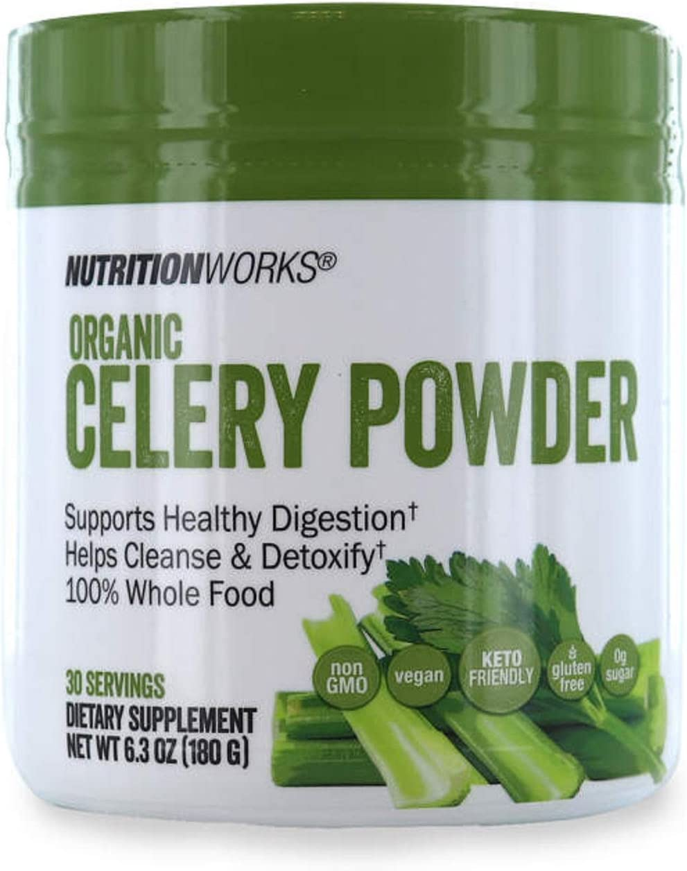Nutrition Works Organic Celery Powder 100% Whole Food Dietary Suplement - 6.3 oz (180 g) - 30 Servings