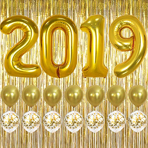 2019 Balloons Gold Confetti Balloon - Graduation Party Supplies 2019 | Graduation Decorations | Large 2019 Balloons, Gold Confetti Balloons | Gold Foil Fringe Curtain Backdrop | Graduation Balloons