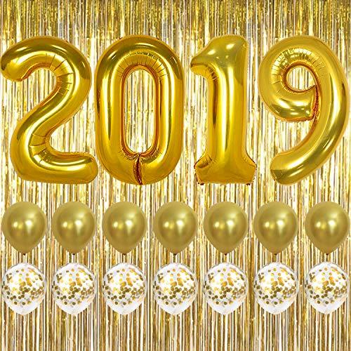 2019 Balloons Gold Confetti Balloon - Graduation Party Supplies 2019 | Graduation Decorations | Large 2019 Balloons, Gold Confetti Balloons | Gold Foil Fringe Curtain Backdrop | Graduation Balloons - Confetti Fringe