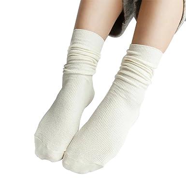 420f96dc5ad Westeng Longues chaussettes en Coton Socquettes Couleur unie rétro  Élasticité Chaussettes de tube pour Femmes