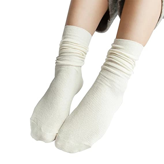 Westeng 1 Pcs Calcetines largos Transpirable Medias femeninos Algodón Calcetines de invierno (Blanco)