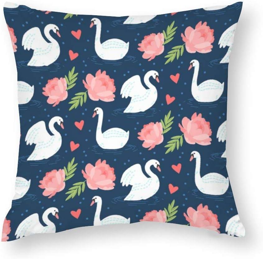 VinMea Decorative Pillow Covers Elegant Swan Motif Throw Pillow Case Cushion Cover Home Decor,Square 20 X 20 Inches
