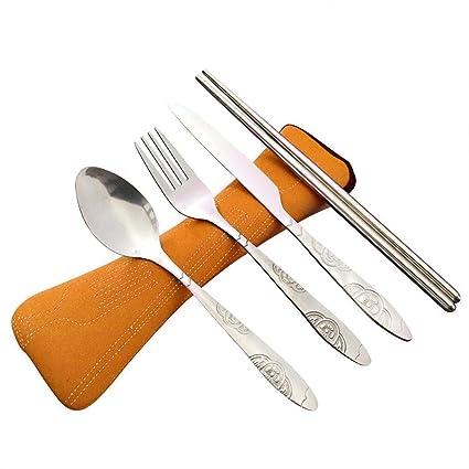 wergem 4pcs Conjunto de Cuchillo de Acero Inoxidable Ligero Cuchara Tenedor Palillos cubertería Juegos de cubertería de Servir