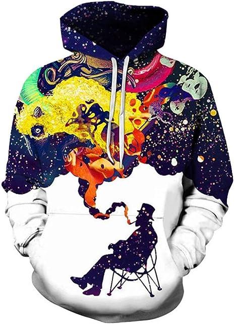 WANLN Jersey con Capucha Jersey para Hombre Impresión Digital Camisa con Capucha Deportiva para Hombre Pipe Rainbow Smoke Impresión 3D Sudadera Unisex Slim: Amazon.es: Deportes y aire libre