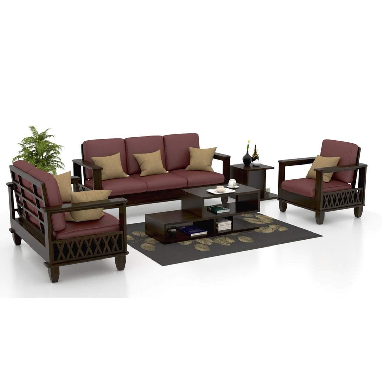 Furniture world sheesham wood 3 2 1 seater sofa set 3 2 1 walnut amazon in home kitchen
