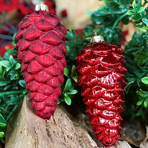 Whole House Worlds Red Pine Cone Pendant Ornaments, Pack of 2, Christmas Decorations, Matte Shiny Finishes, Glass, Each is 4 Inches Tall -