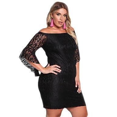 2976d049ee3e5 BaronHong Women s Sexy Plus Size Lace Floral Off Shoulder Bodycon  Dress(black ...