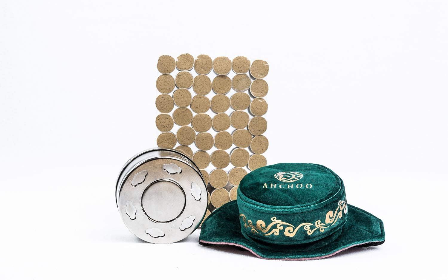 AHCHOO Mugwort Moxibustion Starter Pack — Waist Belt * 2 + 54 Moxa Sticks + 2 Moxa Boxes (5 Items) (Green)