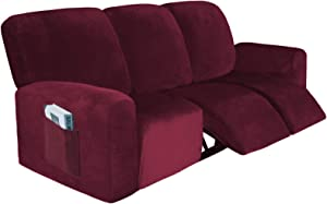 Velvet Stretch 8-Pieces Recliner Sofa Covers Reclining Couch Covers for 3 Sofa Slipcover Furniture Protector with Pockets for Kids Pet (Burgundy)