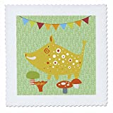 3dRose Uta Naumann Watercolor Illustration Animal - Woodland Friends-Forest Animal Illustration for Babies-Boar - 14x14 inch quilt square (qs_268901_5)