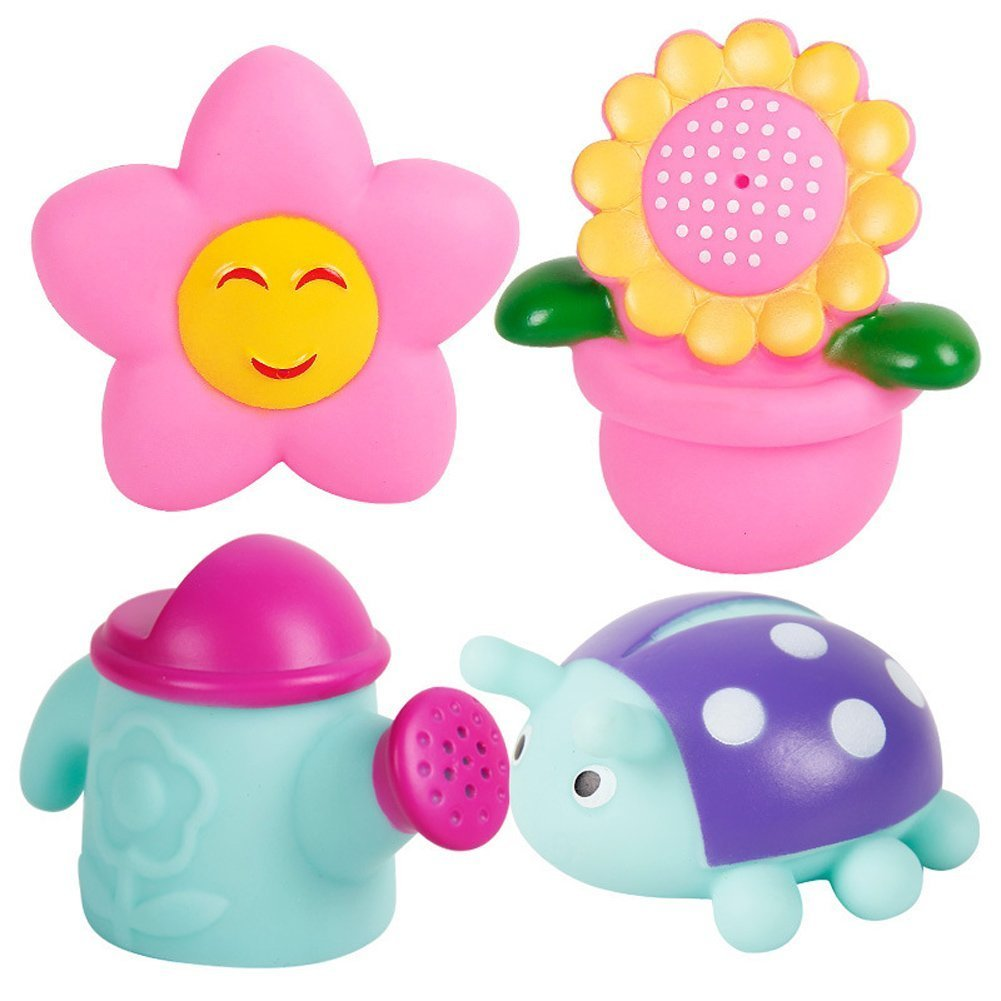Badespielzeug, Chickwin 4pcs Baby bunte Bad Squirters Sortierte Kinder Bad Spiel Wasser Pool Tub Spielzeug