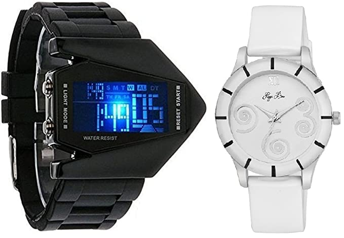 Pappi Boss Pack of 2 Couple Combo - LED Aircraft Model with light --- Digital Display Wrist Watch for Boys, Men & Sober White Leather Analog Wrist Watch for Girls, Women