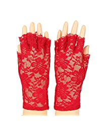 Women's Summer UV Protection Fingerless Lace Gloves, Elegant Lady's Wrist Length Bridal Party Evening Lace Gloves (Red)