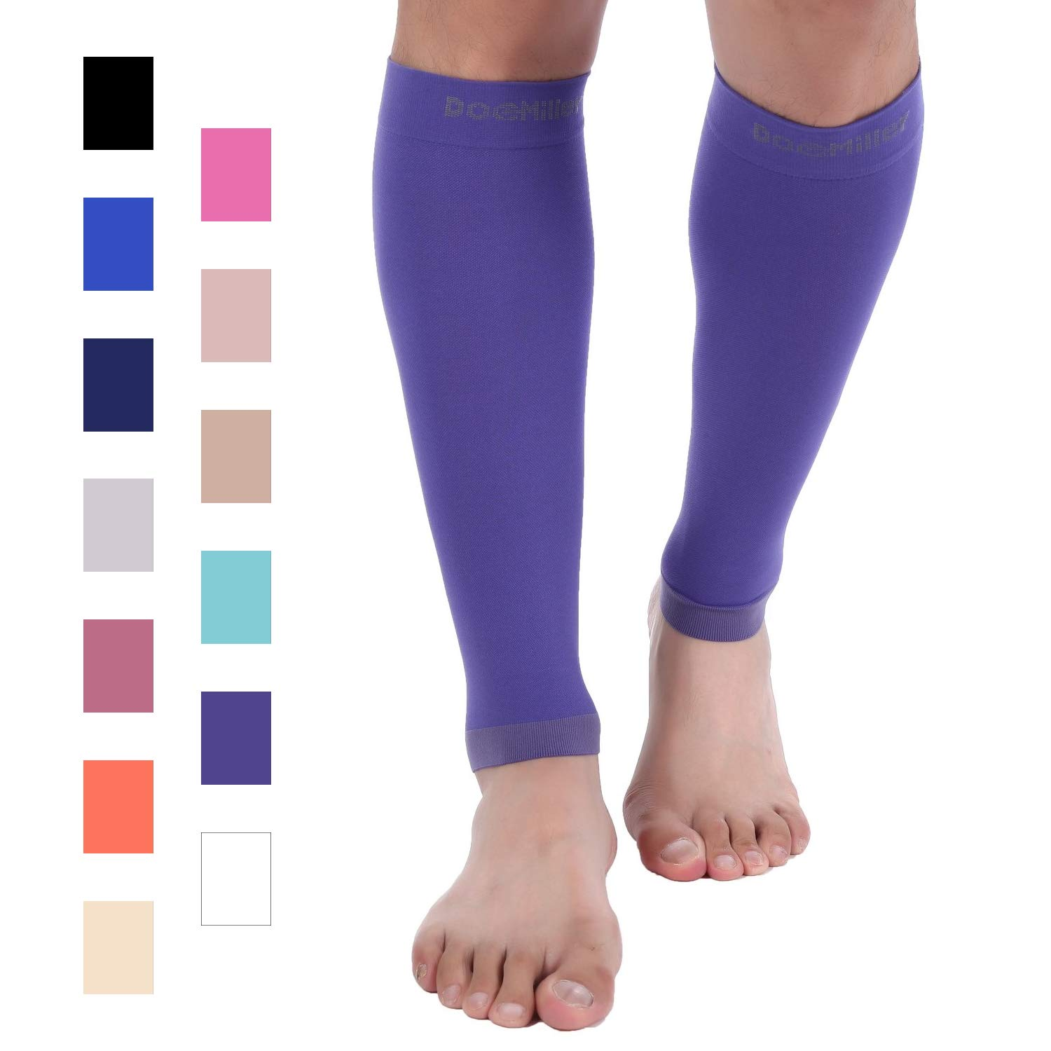 Doc Miller Premium Calf Compression Sleeve 1 Pair 20-30mmHg Strong Calf Support Fashionable Colors Graduated Pressure for Sports Running Muscle Recovery Shin Splints Varicose Veins (Violet, Large) by Doc Miller