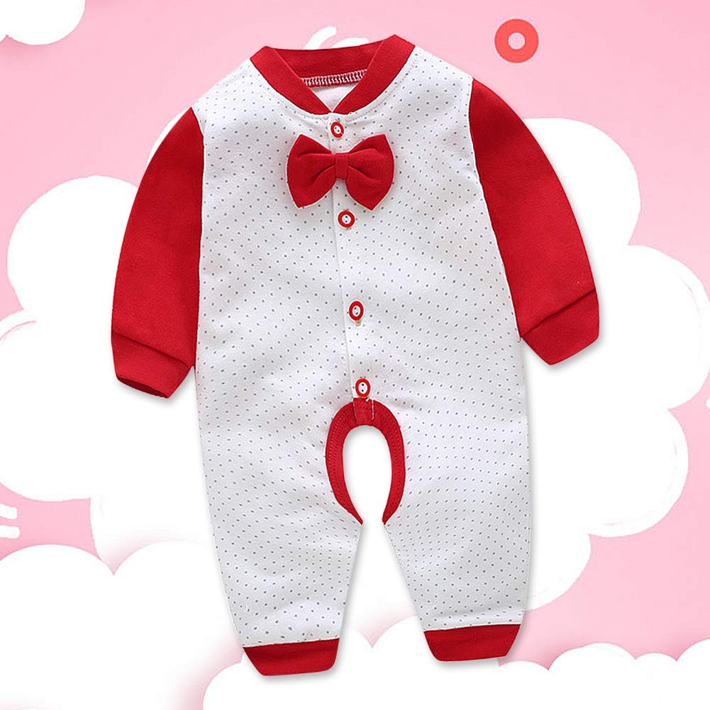 Neugeborene Langarm Baby Strampler N/ähen Farbe Body mit Fliege Infant Spielanzug Modische Einreiher Overall 66cm
