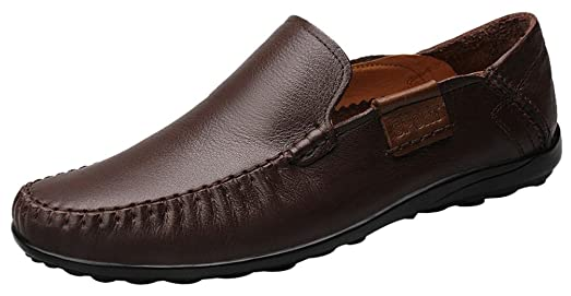 FJQY-9905 New Mens Casual Leather Slip On Leisure Breathable Holes Driving Shoes