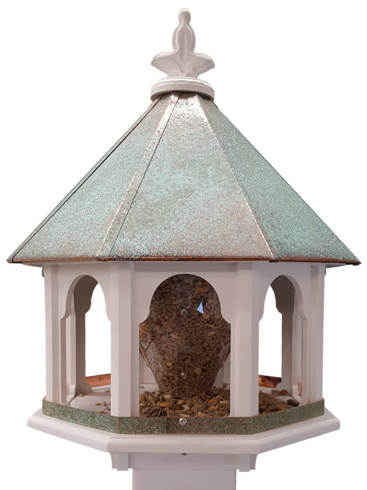 Octagon Wild Bird Feeder Solid Cellular PVC Patina Roof Made In the USA (SBF8V)