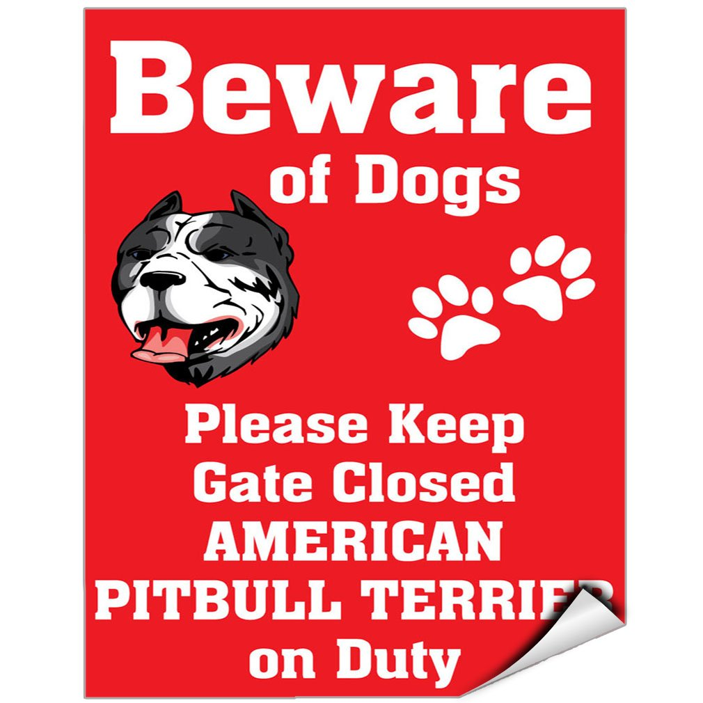 Beware Of American Pitbull Terrier Dog On Duty Vinyl LABEL DECAL STICKER 18 inches x 24 inches by Fastasticdeals