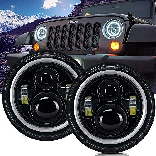 TURBOSII DOT Approved 7' Round Black LED Headlight with High Low Beam White DRL Amber Turn Signal for Jeep Wrangler JK TJ LJ CJ Hummer H1 H2 (Pair)